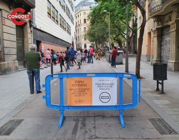 Pedestrian barriers to delimit the areas